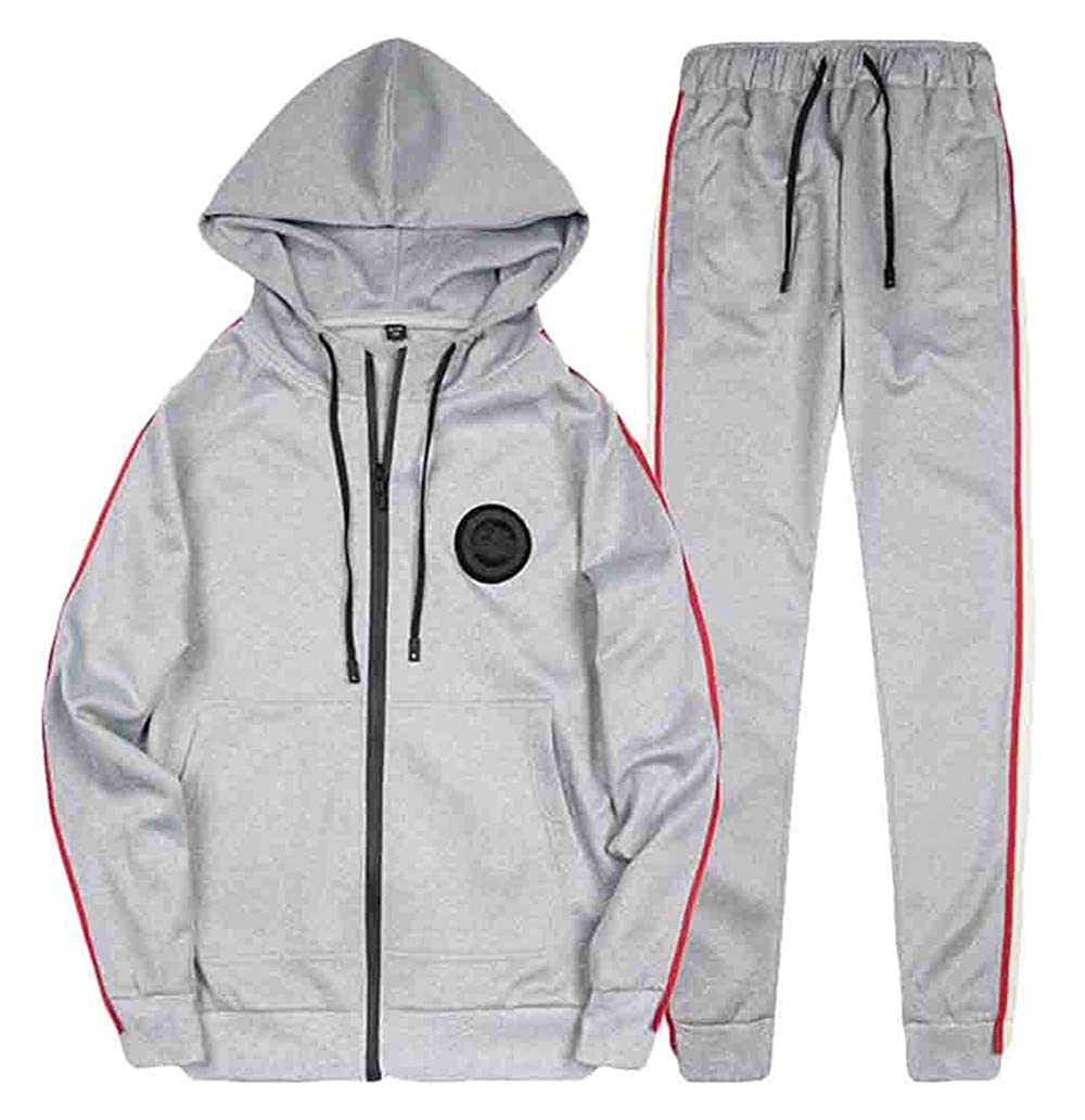 Mens Casual 2 Pieces Zipper Hooded Jacket and Pants Tracksuit Outfit Set