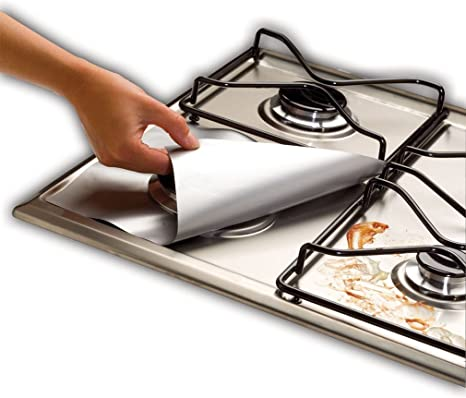Encimera de gas Protección Pad idealhouse 4pcs universal papel de aluminio reutilizable antiadherente quemador hornillo, Cover Pantalla limpia hoja ...