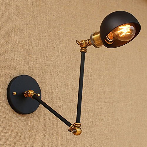 SUSUO Lighting Vintage Style Rustic Wall Sconce Swing Arm Wall Lamp with Metal Dome Shade