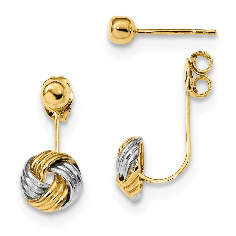 14kt w/Rhodium Front & Back Love Knot Polished Earrings