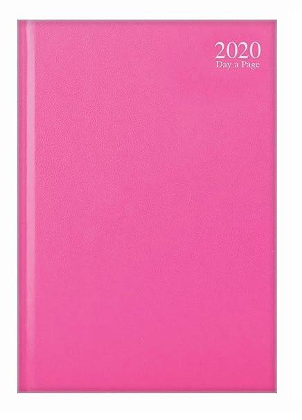 Agenda 2019 A4 con vista diaria, color rosa pastel, azul claro o morado, día a página, sábado y domingo, página compartida, color rosa A4