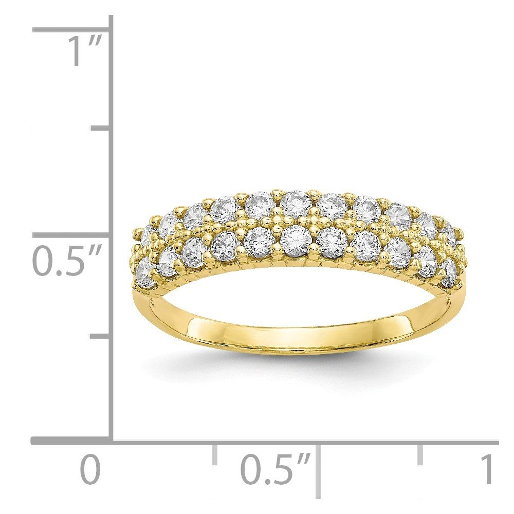 Diamond2Deal 10k Yellow Gold Cubic Zirconia Engagement Wedding Fancy Band Ring Ideal Gifts for Women