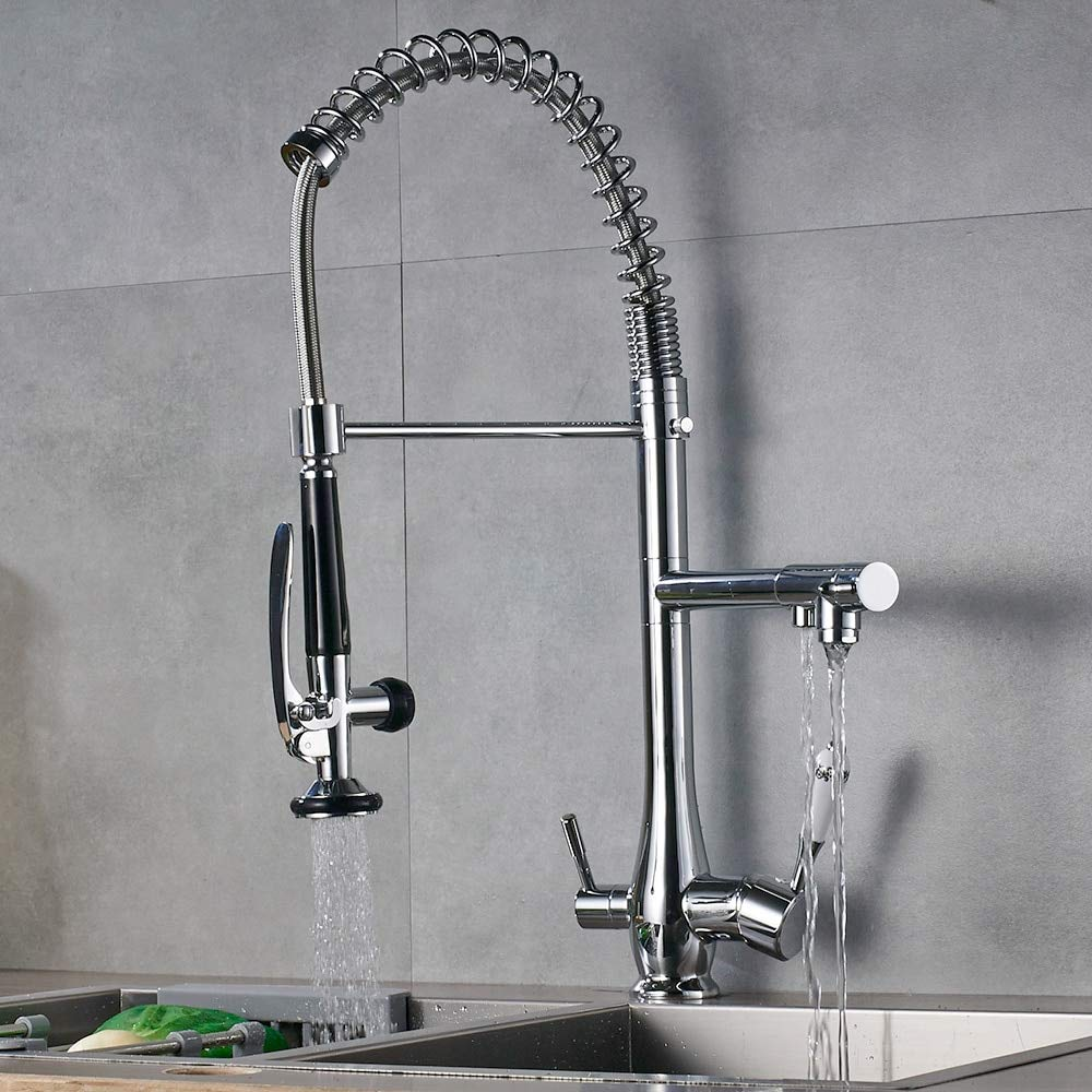Decorry Chrome Kitchen Sink Wasserhahn Aus Massivem Messing Reinen Wasserhahn Doppelgriff Mischbatterie Für Warmes Und Kaltes Wasser