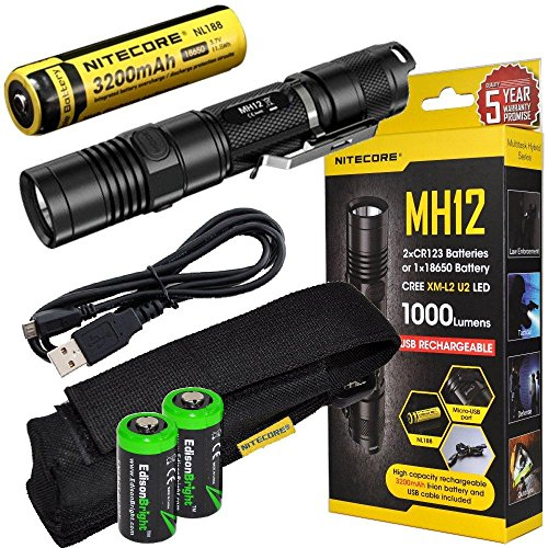 Nitecore MH12GT CREE LED 1000 Lumen USB Rechargeable Flashlight, 18650 rechargeable Li-ion battery, USB charging cable and Holster with 2 X EdisonBright CR123A lithium Batteries bundle