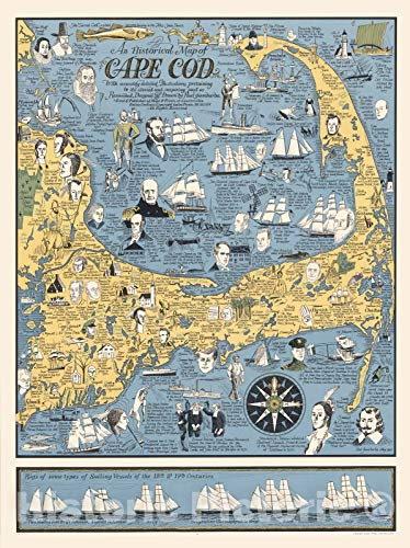 Historic Map | An historical map of Cape Cod, 1964 | Vintage Wall Art | 18in x 24in
