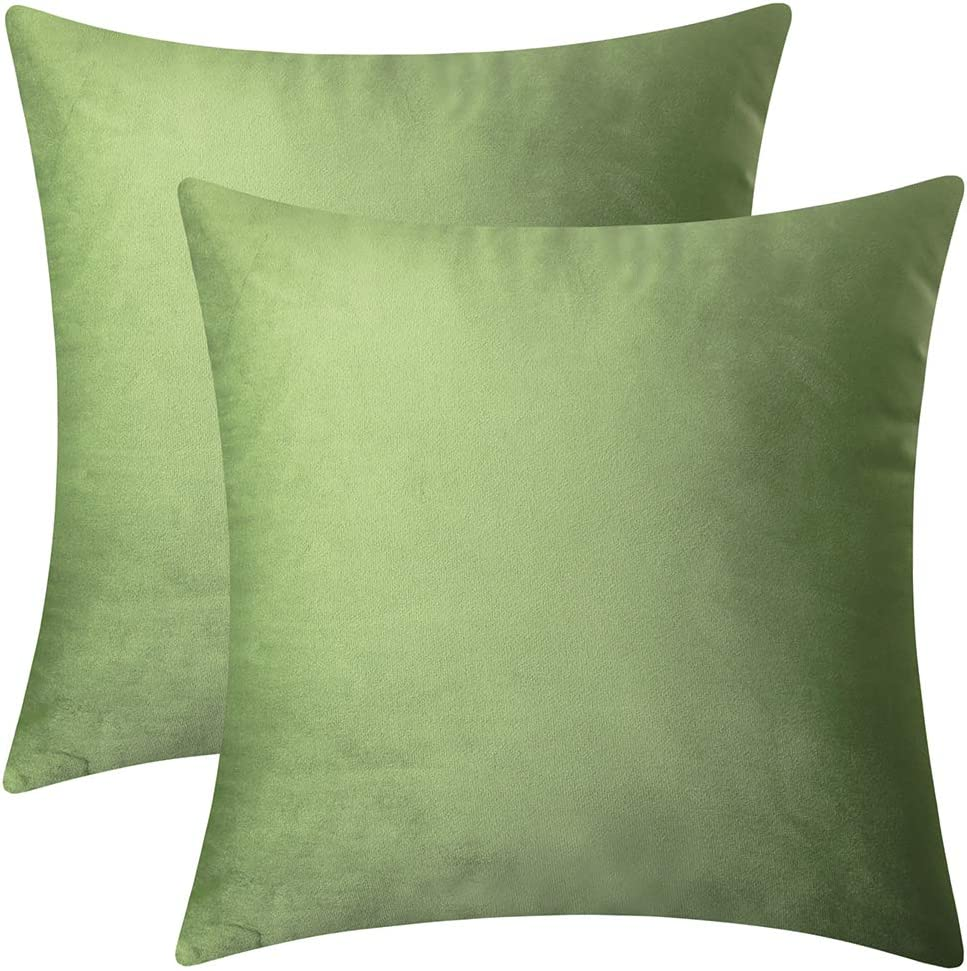 """Artcest Set of 2, Decorative Square Velvet Throw Pillow Cases for Bedroom and Sofa, Soft Solid Cushion Covers for Couch and Car, 18""""x18"""" (Moss Green)"""