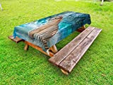 Ambesonne Tiger Outdoor Tablecloth, Feline Beast in Pond Searching for Prey Sumatra Indonesia Scenes, Decorative Washable Picnic Table Cloth, 58 X 84 Inches, Turquoise Pale Brown Black