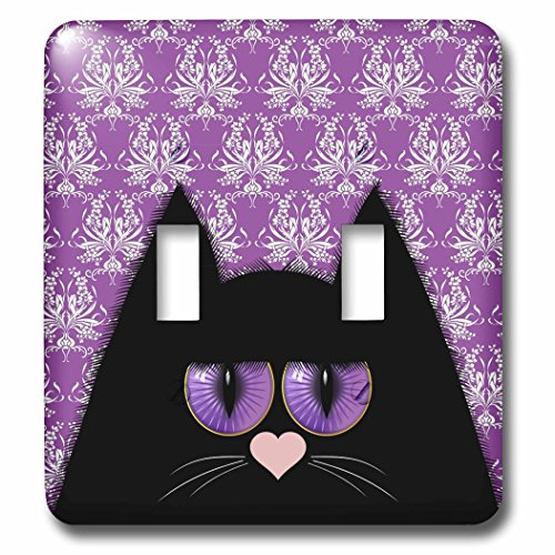- 3D Rose LSP_223300_2 Cat with Amethyst Color Eyes Over Purple Damask Double Toggle Switch