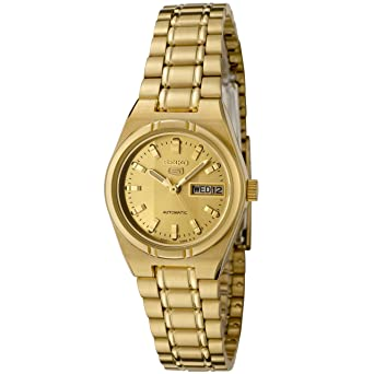 Seiko Womens SYM600K Seiko 5 Automatic Gold Dial Gold-Tone Stainless Steel Watch