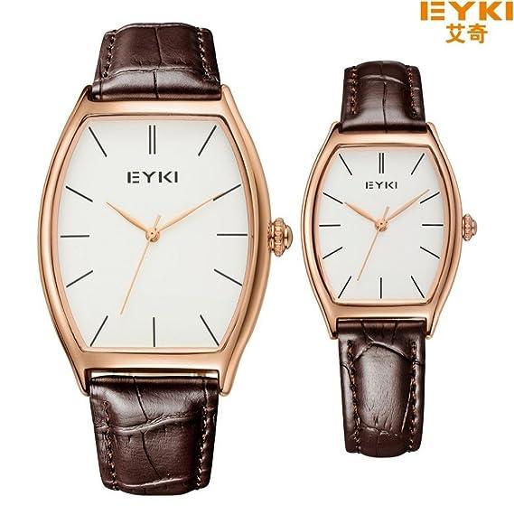 Los amantes de los relojes regalo Watdch Beauty Eyki o cama de matrimonio Reloj Plain primera marca tonel carcasa funda de piel correa Reloj Mujer de Reloj: ...