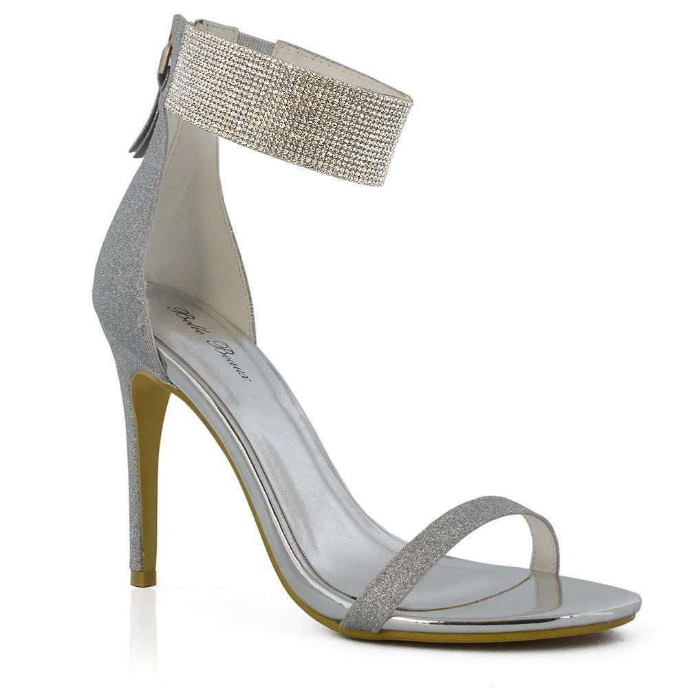 0c285e0616 ESSEX GLAM Donna Diamante Cinturino alla alla alla Caviglia Stiletto Peep  Toe Sintetico Sandalo Argento Glitter ...