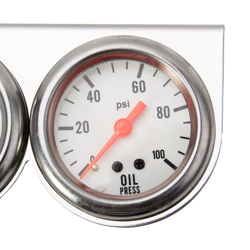 3in1://Öldruck 5,1 cm Anzeige Universelles dreifach Messger/ät Wassertemperaturanzeige und Voltmeter f/ür Auto und Motorrad