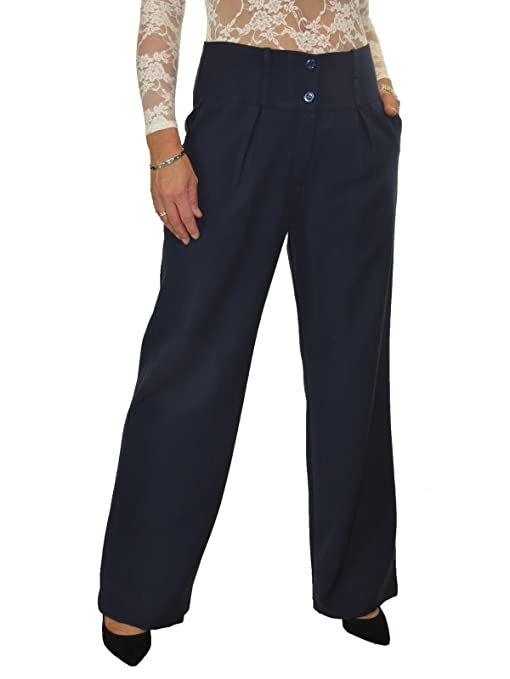 Vintage High Waisted Trousers, Sailor Pants, Jeans icecoolfashion Ice Ladies Wide Leg Smart Soft City Trousers $34.99 AT vintagedancer.com