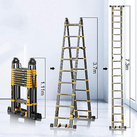 nohbi Escalera de Aluminio, Escalera elevadora de ingeniería Multifuncional, Escalera Plegable portátil de Aluminio para el hogar -3.7 Metros +3.7 Metros,Escalera telescópica de Aluminio esca: Amazon.es: Hogar