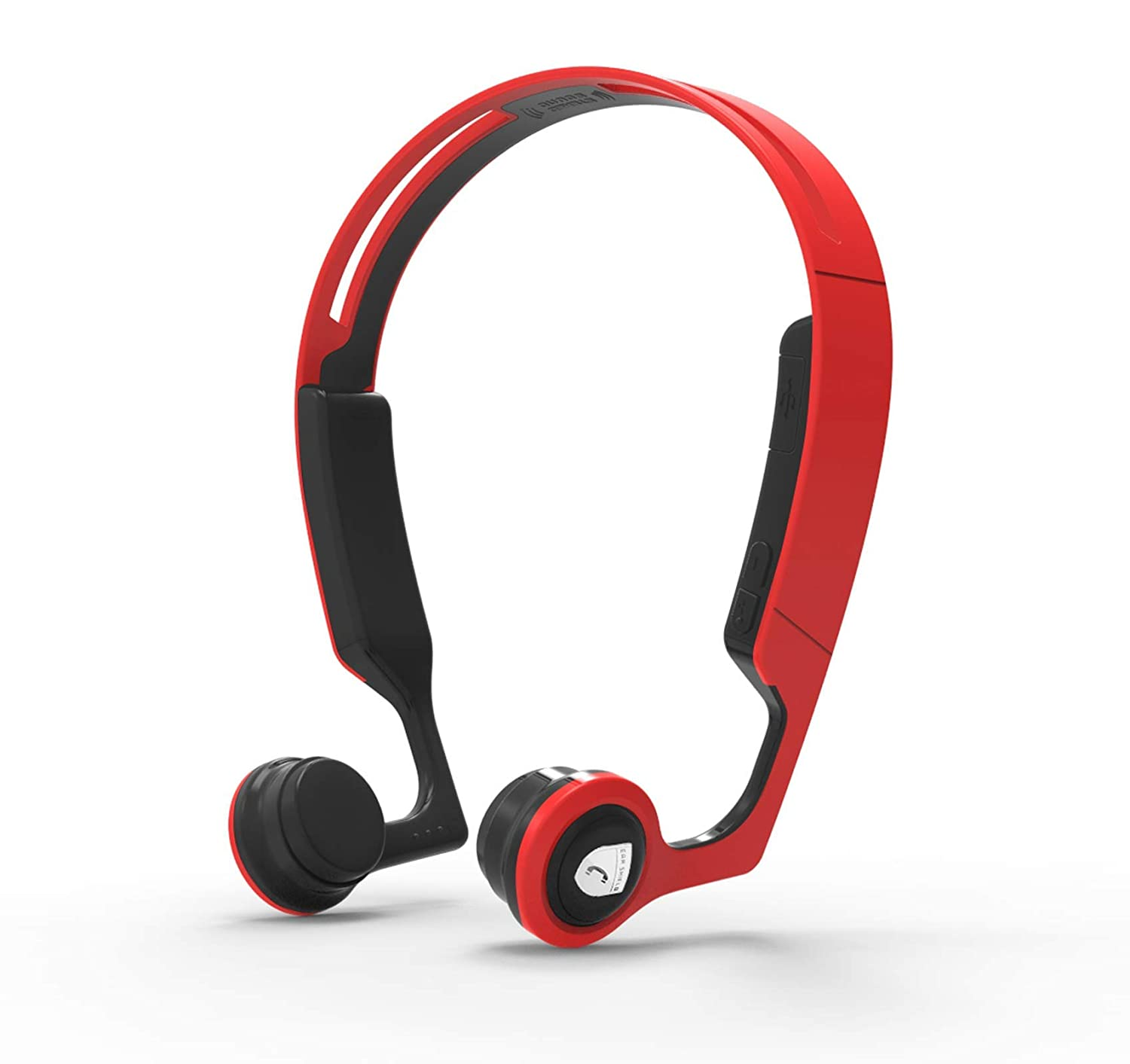 Lian LifeStyle Premium Bone Conduction Headphones Lightweight & Waterproof w/Mic & Bluetooth. Wireless Over Ear Headset for Adults and Kids, Suitable for Sports, Gaming, Travel, Office (Red w/Black)