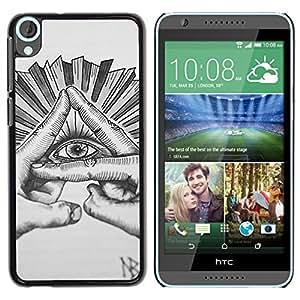 Ojo Pirámide gratuito Mason dibujo a lápiz- Metal de aluminio y de plástico duro Caja del teléfono - Negro - HTC Desire 820
