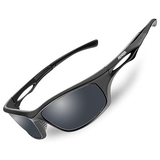 7bb03853eb07 AFARER polarized sports sunglasses for youth adult fishing running biking  TR3 (black matte