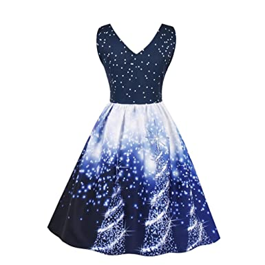 Hongxin Women Christmas Dress, Snowflake Floral Printed Vintage Dress Knee-Length Sleeveless Dress Vestidos