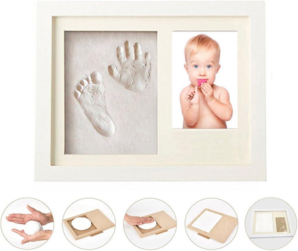 regalo para reci/én nacidos,Ideal decor o regalo de baby shower 24# CHAWHO El kit de Huellas y Manos para beb/és,Marco de Fotos de Huellas con Arcilla
