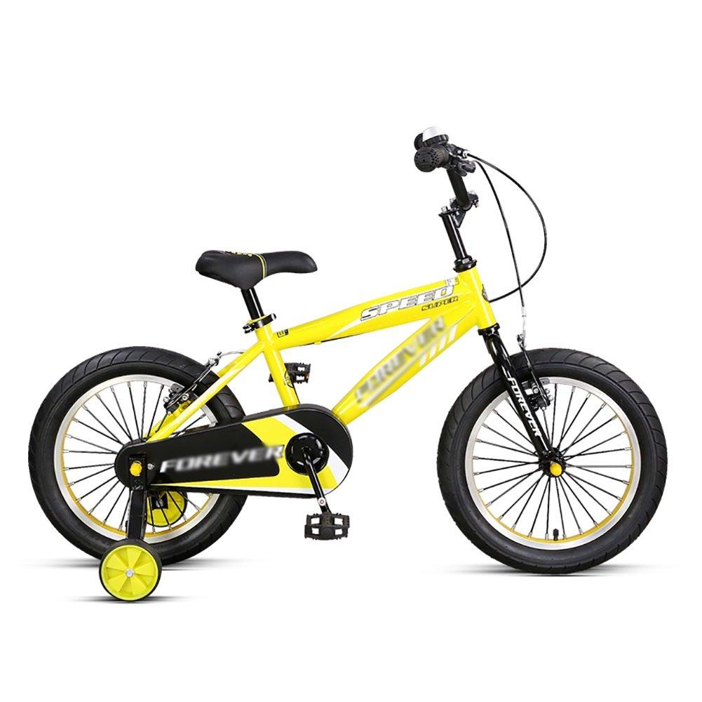 子供用自転車14インチの子供用マウンテンバイク3-5-8歳の男の子と女の子ペダル自転車ベビーベビーカーブルーイエローレッド B07DXL9CXY イエロー いえろ゜ 14 inch