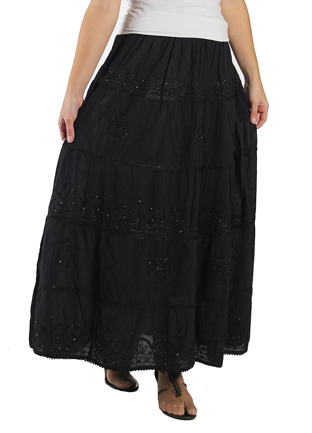 85210ef56 KayJayStyles Full Length Womens Solid Embroidered Gypsy Bohemian Long Cotton  Skirt (Black) at Amazon Women's Clothing store: