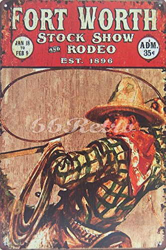 (Fort Worth Stock Show and Rodeo, Metal Tin Sign, Vintage Style Wall Ornament Coffee & Bar Decor, Size 8