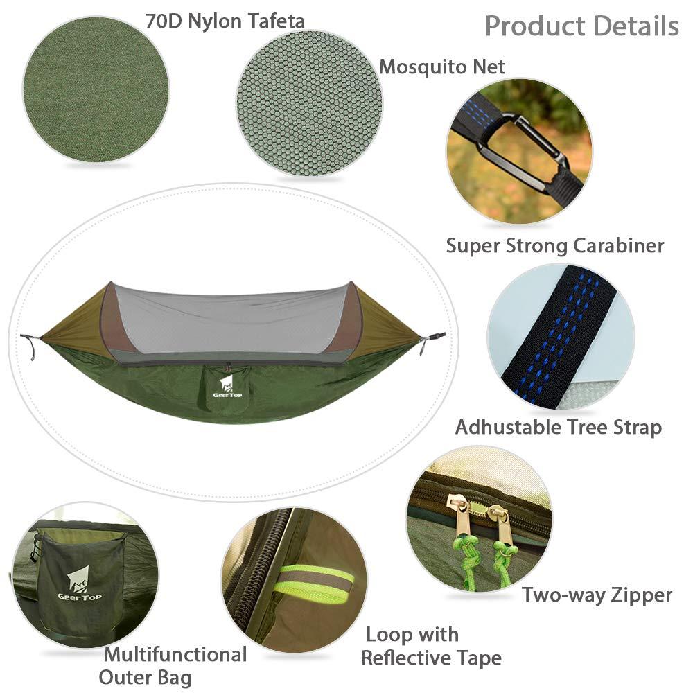 hamaca port/átil de nailon ligero con correas de /árbol Geertop Hamaca para 1 o 2 personas con mosquitera para acampar hamaca doble plegable con cremallera para exteriores mochileros,
