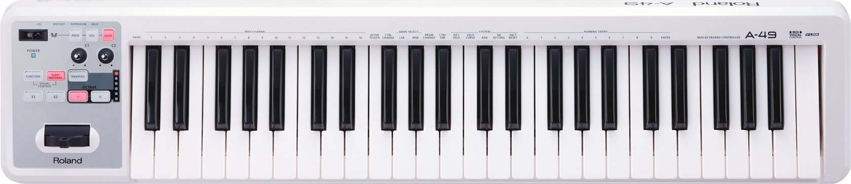 Roland Lightweight 49-Key MIDI Keyboard Controller, white (A-49-WH) by Roland