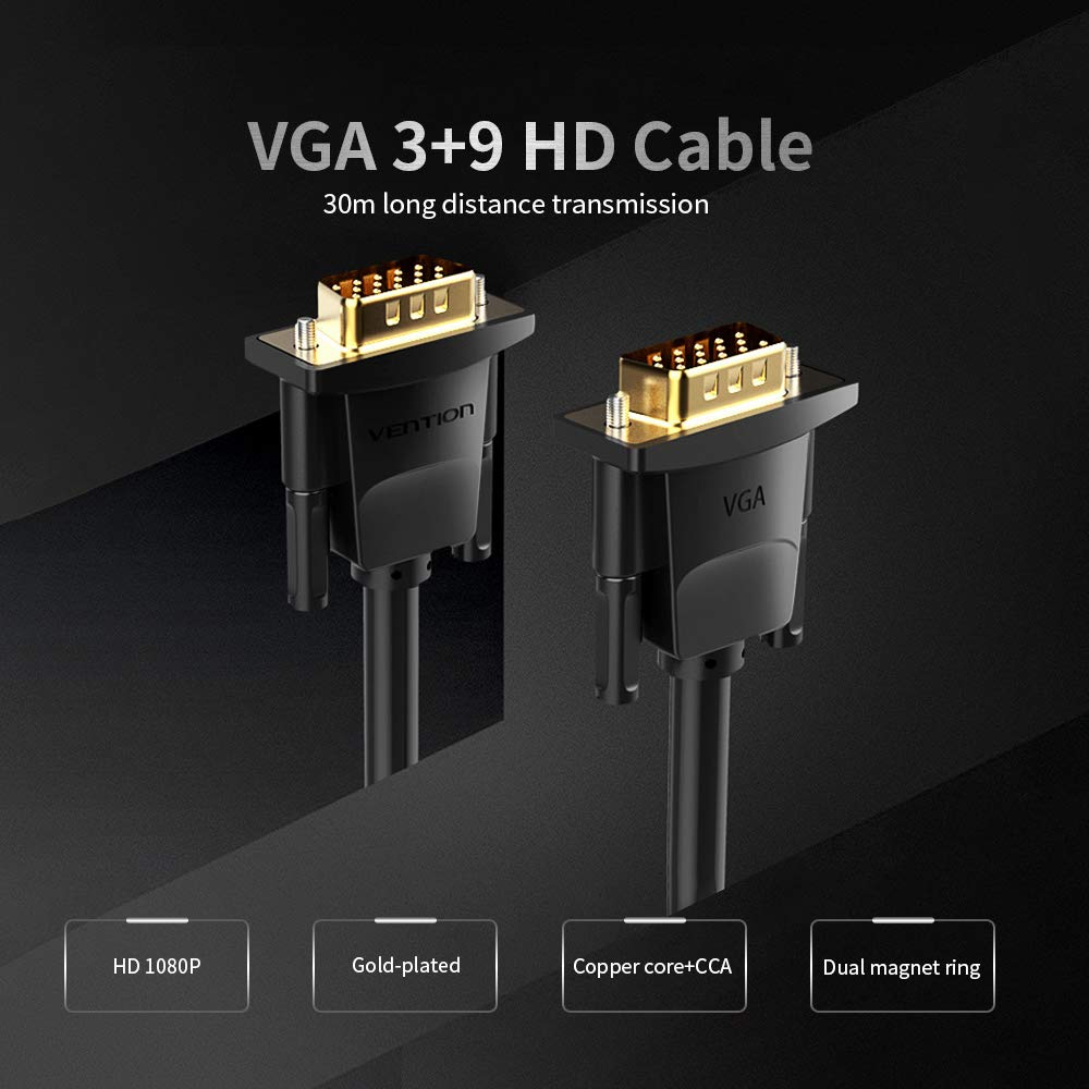 Grborn VENTION VGA Extension Cable VGA Male to Male HD Adapter Cable Support 1080P Full HD for Laptop PC Projector HDTV Display and More VGA Enabled Devices 10m//32.81ft Black