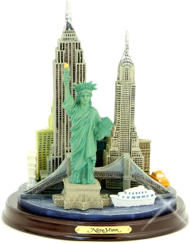 New York City Statue Model NYC Skyline Architecture, Wooden Base, 4.5 Inches