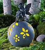 Resin Fairy on Glowing Globe Garden Statue, Thinking Fairy