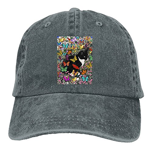 Richard Freckles In Butterflies - Tuxedo Kitty Adult Cotton Washed Denim Travel Cap Adjustable - Monarch Dress Price Butterfly