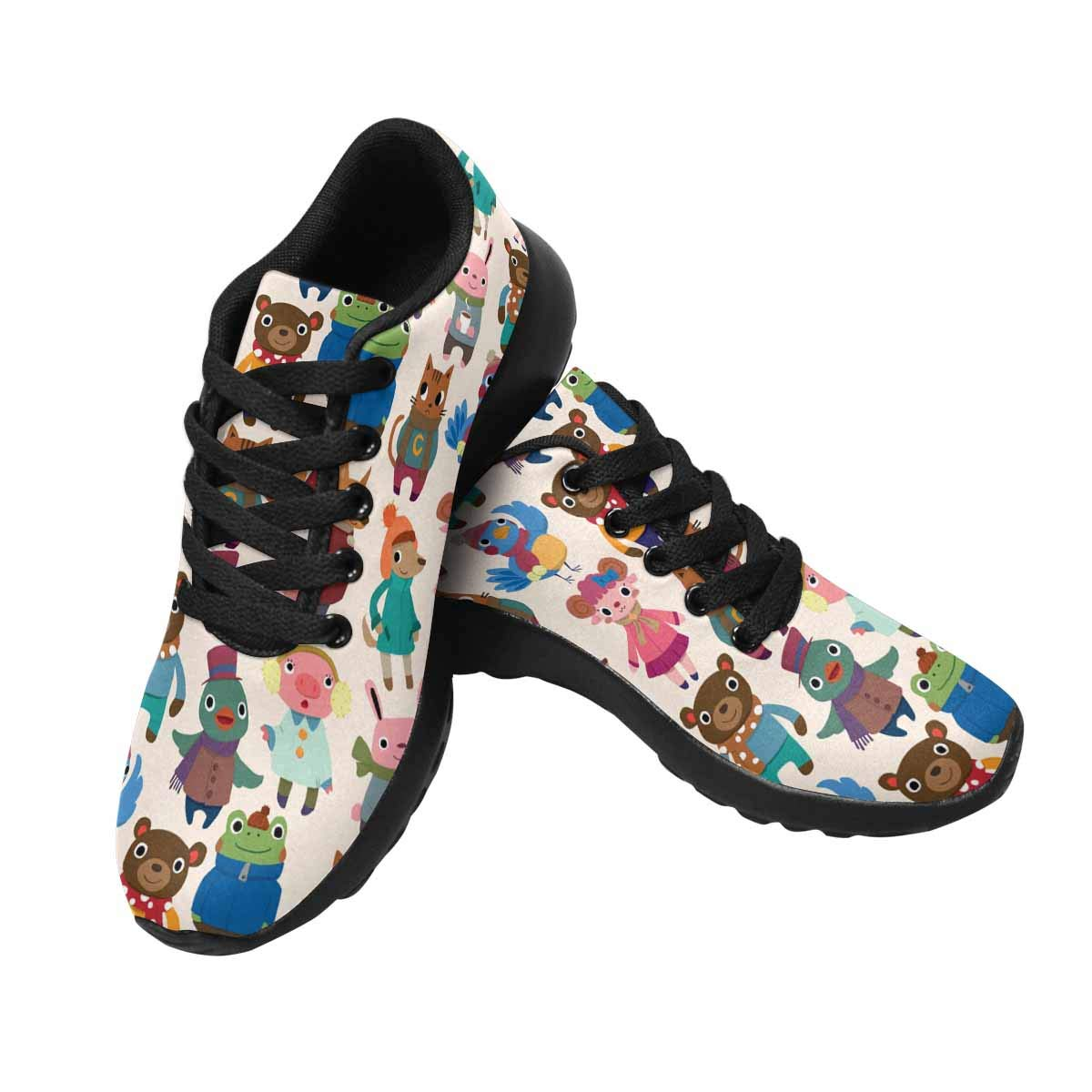 INTERESTPRINT Womens Running Shoes Colorful Cute Animals Pattern Print Outdoor Running Sneakers