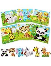 BelleStyle Houten puzzel voor 2 3 4 5 jaar oud, 6 Pack Dierlijke houten legpuzzels voor kinderen van 2-5 jaar, Peuter Kinderen Leren Educatieve Puzzel Speelgoed Set voor Kids Jongens en Meisjes, 9 stuks/Pack