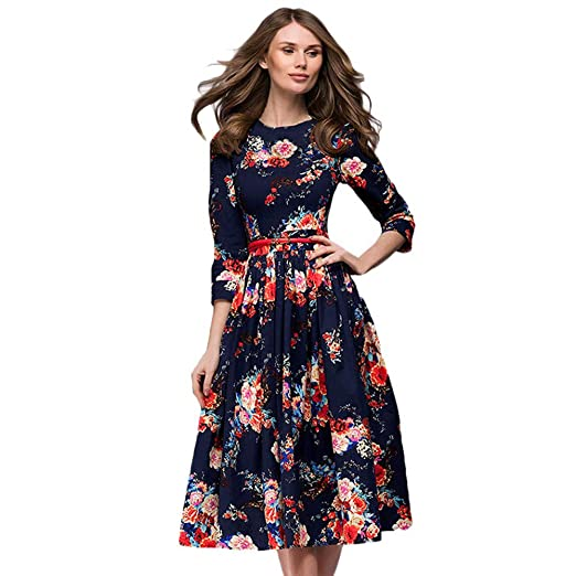 57c807d1afed0 Amazon.com  Womens Dresses Clearance Sale! Women s 3 4 Sleeve Floral  Printing Long Sleevel Retro Party Long Maxi Dress  Clothing