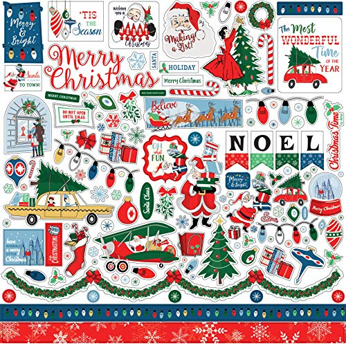 Carta Bella Paper Company CBMC107014 Merry Christmas Element Sticker, red,Green, Navy, Blue