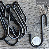10 Pack 3.5 Inches S Shape Black Finish Steel Hanging Hooks for Kitchenware , Pots , Utensils , Plants , Towels , Gardening Tools , Clothes