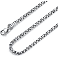 FOSIR 2-4MM Mens Womens Stainless Steel Silver Rolo Cable Chain Necklace 45-75 CM