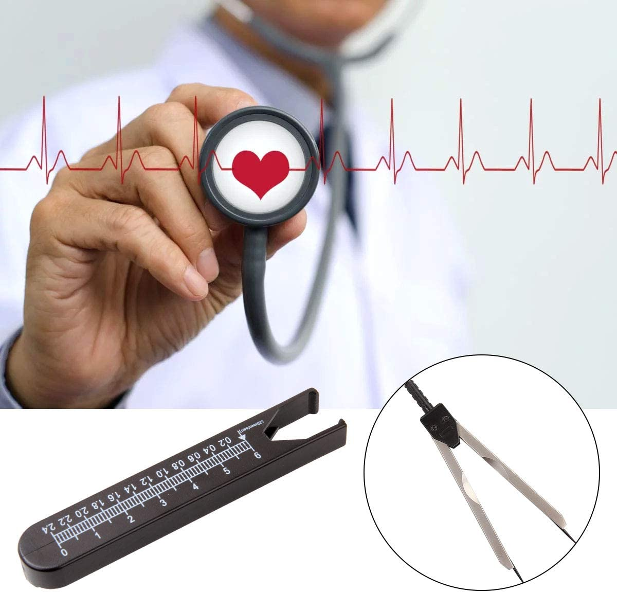 11.5cm//4.5inch HNBun ECG Calipers Measuring Tool Black EKG Calipers Electrocardiogram Divider for Nursing