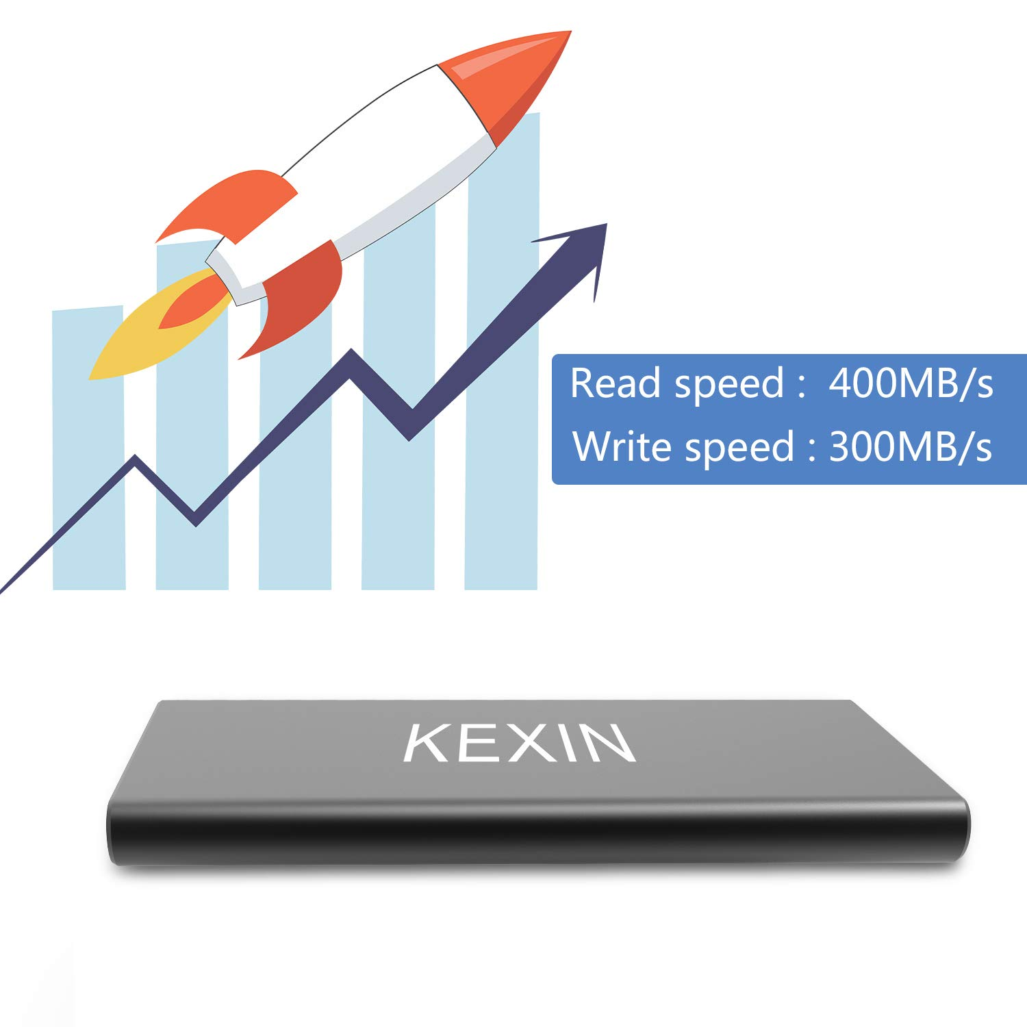 KEXIN 250GB Portable External SSD Drive USB 3.0 High Speed Read & Write up to 400MB/s & 300MB/s External Storage Ultra-Slim Solid State Drive for PC, Desktop, Laptop, MacBook Black by KEXIN (Image #5)