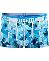 JINSHI Men's Bamboo Stretch Comfy Waistband Boxer Briefs Printed