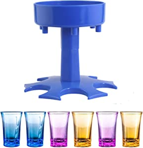 6 Shot Glass Dispenser and Holder, Quick Shot Buddy For Filling Liquids, Wine Dispenser for Bar Party, Multiple 6 Ways Dispenser (With Colorful Cups)