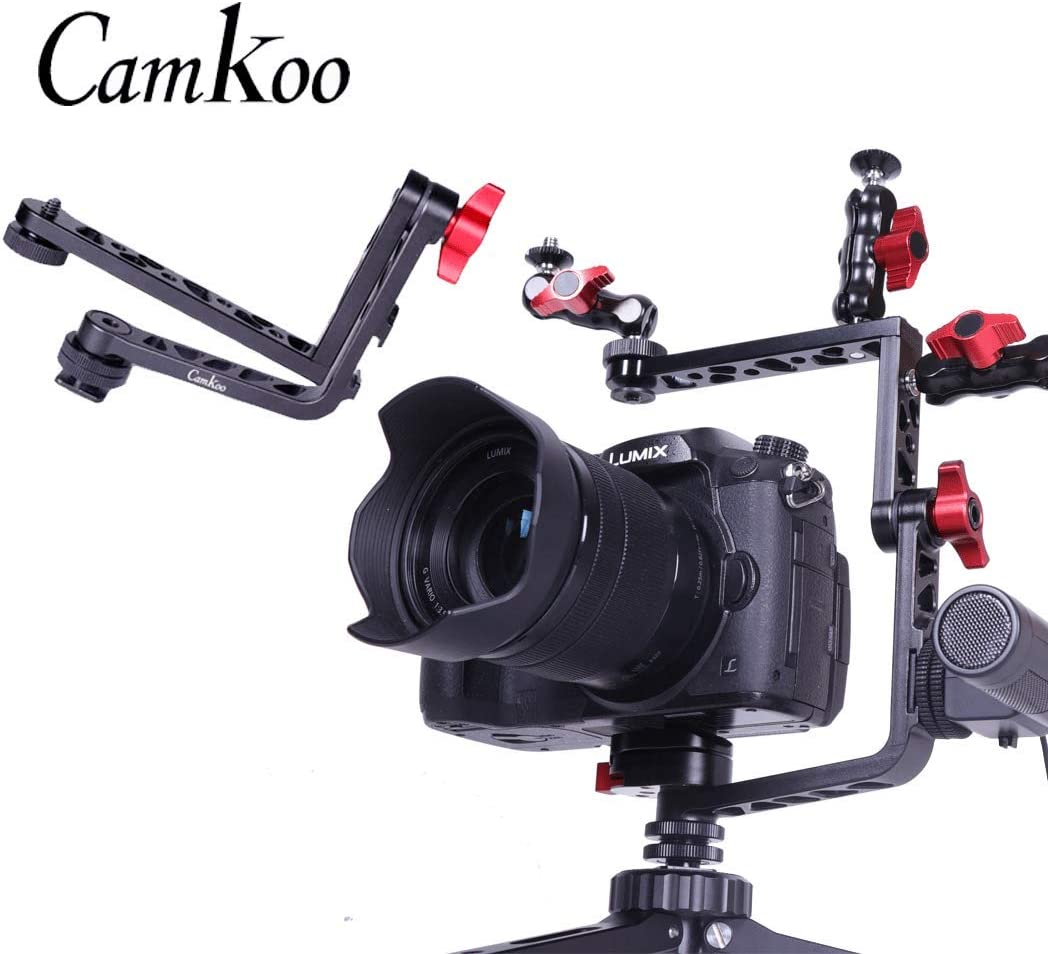 Compatible with DSLR Tripod Head, Vlogging Film Swiel Arm for Monitor Vlogger with 1//4 Screw Cold Shoe Vertical Video Shooting CAMKOO Universal Mirroless Camera L Bracket Camera Cage Mount