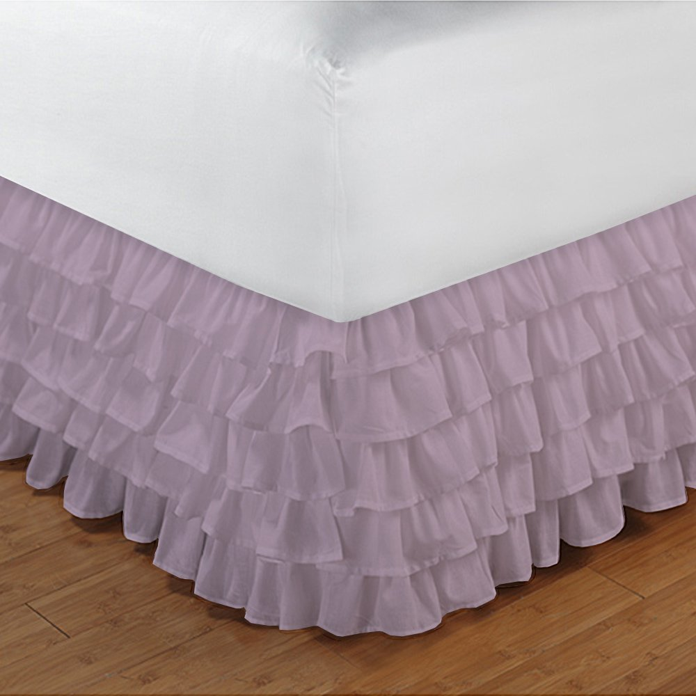Relaxare Expanded Queen 300TC 100% Egyptian Cotton Pink Solid 1PCs Multi Ruffle Bedskirt Solid (Drop Length: 15 inches) - Ultra Soft Breathable Premium Fabric
