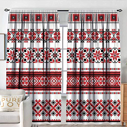 NUOMANAN Decor Waterproof Window Curtain Red,Ukrainian Needlework Illustration Ethnic Traditional Accents Arts and Crafts Theme,Red Black White,Darkening and Thermal Insulating Draperies -