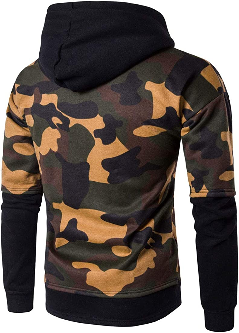 InoVa Mens Hooded Outdoor Long Sleeve Splice Winter Fake Two Pieces Pullover Camouflage Sweatshirt