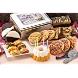 Dulcet Gift Basket Happy Birthday Party Gift Package in Tin with Balloons, Candles -Birthday Cake Great Gift for Men, Women,