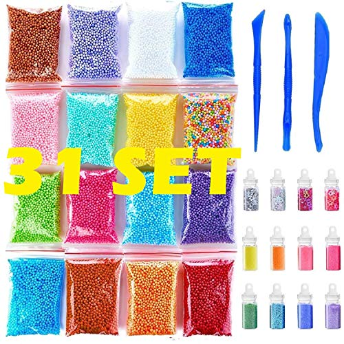 (Foam Beads for Slime | Slime Beads and Glitter | Fruit Slices for Slime | Jumbo Foam Beads For Slime | Floam Beads 16 Pack(80000pcs) 12 Pcs Glitter Jars and 3 Slime Tools | Newest 2019 |)