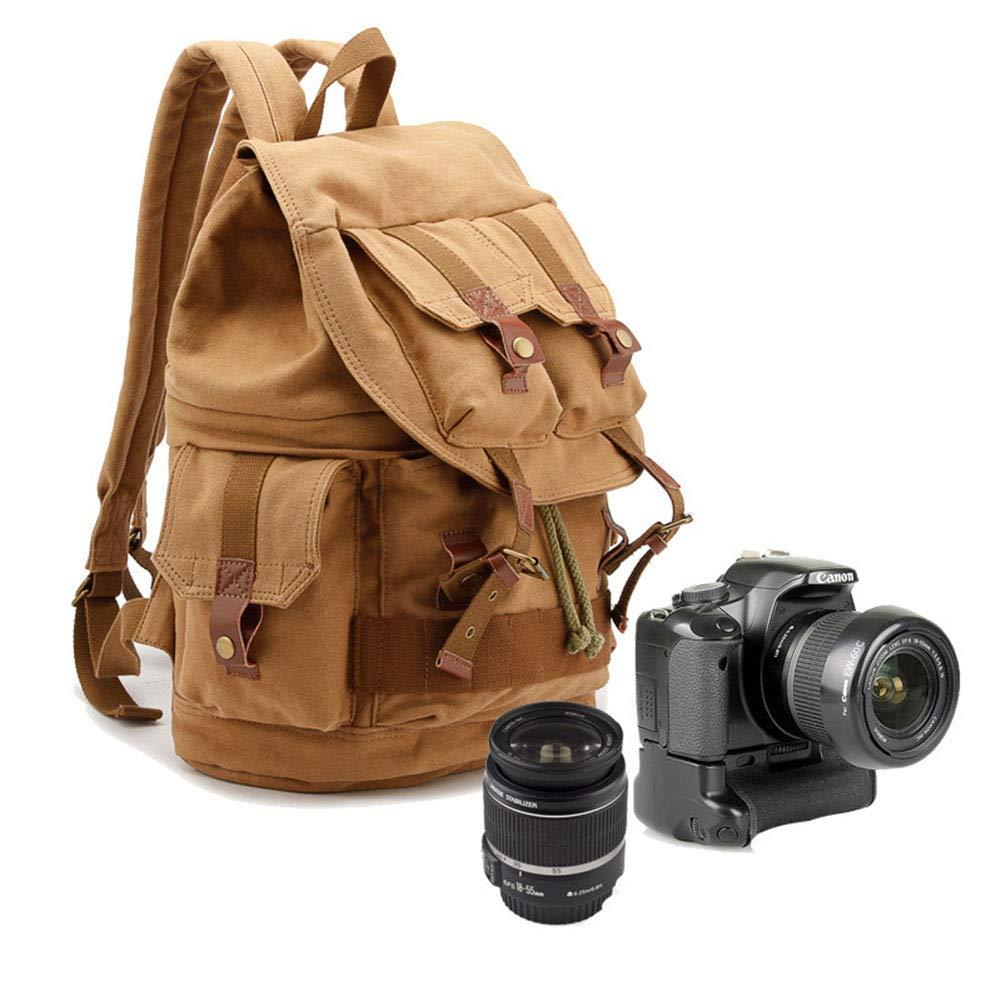 MUJING キャンバスカメラバックパック 雨よけカバー付き デジタル一眼レフカメラ用 775-778-118  A B07MH7RCN2