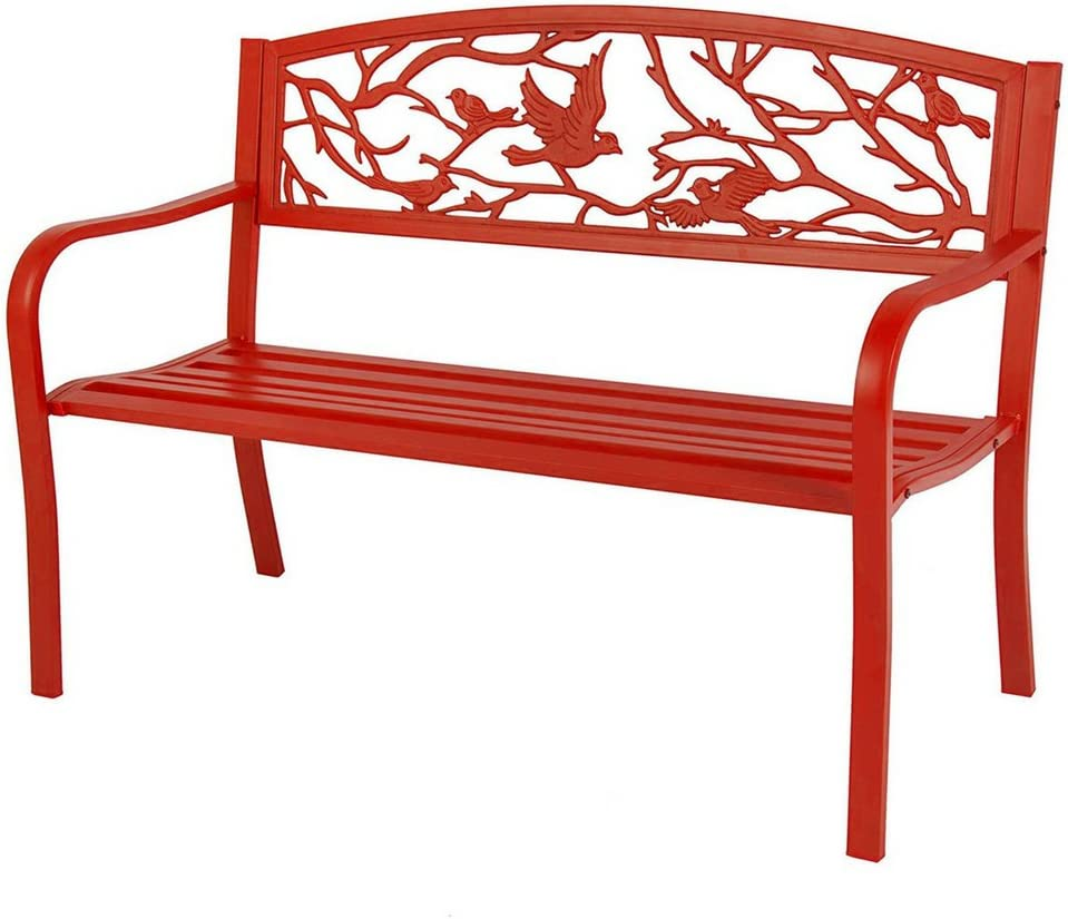 Red Oak Kitchen Table, Amazon Com Outdoor Bench Seat Furniture Red Metal Frame Patio Loveseat Weatherproof Porch Bench With Back Armed Conversation Couch Patio Park Garden Bench Chair Seat Ebook By Bada Shop Kitchen Dining